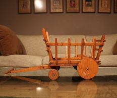 Scale model antique wooden cart