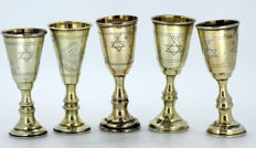 Solid sterling silver set of 5 Kidish cups - London / Birmingham - circa 1915-1930