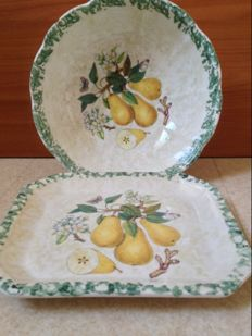 Due Torri big fruit cup or salad bowl with its tray