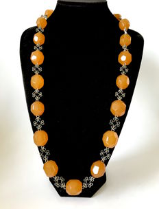 Vintage necklace carved and faceted butterscotch Baltic Amber big beads, Baltic region,  122.8 gr