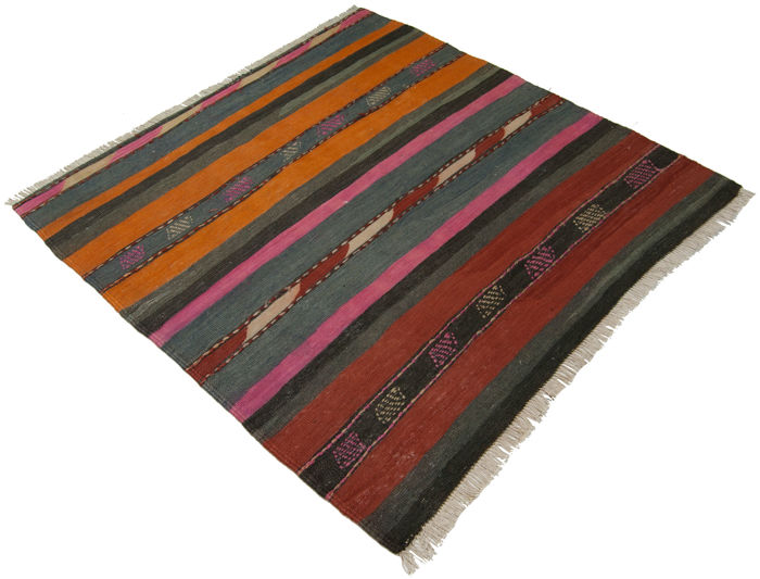 (Size 122 x 125 cm) VERY ANTIQUE authentic KILIM, original collector's piece – Certificate of Authenticity from official appraiser (Galleriafarah1970)