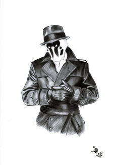 Diego Septiembre - Original Charcoal And Graphite Drawing - Rorschach (Watchmen)