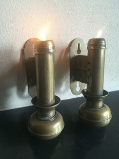 Two antique brass train lights, wall lights with candles, circa 1900 or earlier