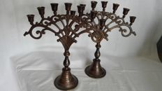 Candlestick, two bronzed brass pieces with 7 candles
