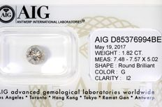 Brilliant cut diamond, 1.82 ct - G / I2 - No Reserve Price
