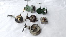 Lot of 4 angling reels, of which two are reversible: 2 x Belgian 1 x Czech Rousek and 1 x Ocean City 350 Patent Pending plus Swiss made Record and WP6