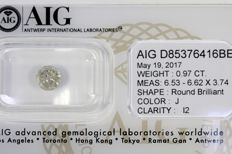 Brilliant cut diamond of 0.97 ct – J / I2 – No Reserve Price