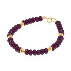 18k/750 yellow gold bracelet with rubies - Length, 18 cm.