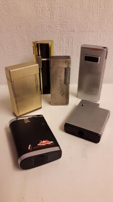"Lot of 6 lighters presumably 1980s. Dupont ""Bugatti"" and Ronson."