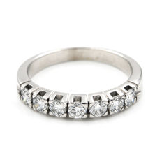 18 kt White gold ring with brilliant cut diamonds – Ring size: 14 (Spain)