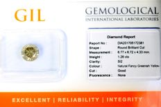 Diamond – 1.26 ct – Fancy greenish Yellow – SI2 – No Reserve Price