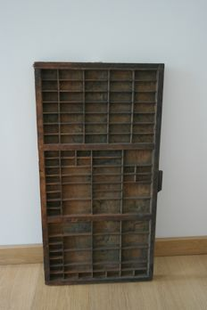 Beautiful antique Hamilton wooden typecase, first half 20th century