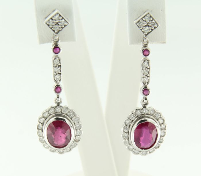 14k white gold earrings set with ruby and brilliant cut diamond, height 3.6 cm