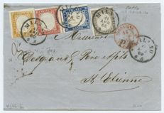 Sardinia, 1855-63 – Four-coloured letter sent from Milan to France on 11 April 1860 with triple postage.