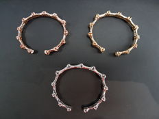 Yellow, White and Rose Gold with Diamonds Bangles,  Total Carat 3.09ct