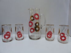 Alba - beautifully decorated glass jug and 4 glasses