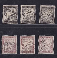 France 1881/1884 – composition of postage due stamps, Yvert # 22/24 and 25/27.
