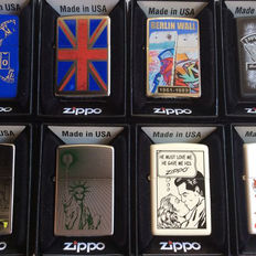 Zippo 8 different lighters of the Planeta brand.