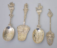 4 Antique silver spoons, different countries