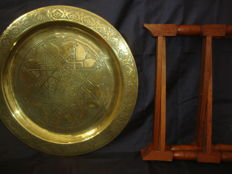 Moroccan Traditional Tea Table Engraved Brass Tray Top  - Folding  Wood Base, C.a 1980
