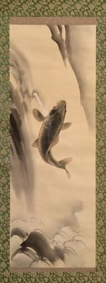 'Carp in waterfall' - Beautiful detailed handpainted scroll painting, signed and stamped, incl.original signed tomobako - Japan - ca. 1920
