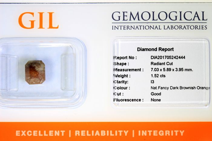 Diamant  1.52 ct - Fancy Dark brownish ORANGE - Zonder Reserve Prijs