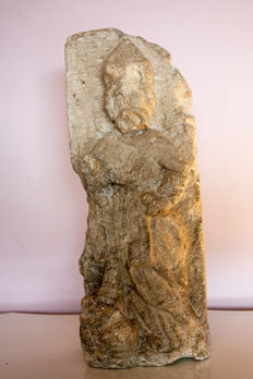 Chiselled stone statue of a Saint - France - 16th/17th century