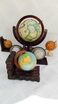 Lot of 6 earth globes - vintage.