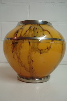 Boom Art Deco vase, Decor, marbled yellow ochre-brown, Model Marie-Louise