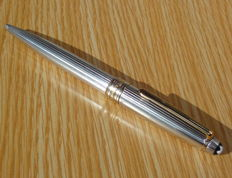 Montblanc Meisterstuck Solitaire sterling silver pinstripe ballpoint pen - included original case, manual and box !