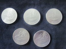 Cook Islands – 1 Dollar 2009 (5 coins) – 5 x 1 oz silver