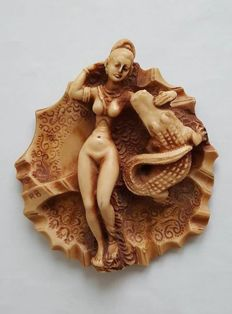 Decorative; Naked lying woman with a crocodile - 2nd half of the 20th century