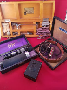 3 Antique medical instruments, ophthalmoscope, head lamp endoscope. Cystoscope