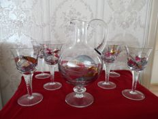 6 Hand crafted unique glasses with matching decanter