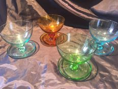 8 Unique vintage coloured cocktail glasses with special foot