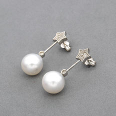 Oro blanco 18K - Pendientes con motivo de estrella - Diamantes talla de brillante - Perlas south sea pearls (Australiana) - Alto del pendiente: 27,50 mm