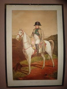 "Very nice old school poster / school map of ""Napoleon on his horse"" from the series 	Historical Portraits, first edition"