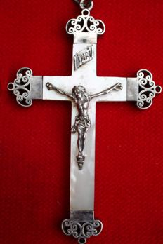 Crucifix in silver and marble - 19th century.