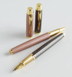 Parker: 2 x luxury rollerball: pink with gold-plated accents + anthrazit with gold-plated accents, with Parker gift box (030)
