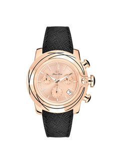 Glam Rock – Women's watch, rose gold IP steel with leather strap and rose dial with striped index