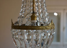 Old crystal glass hot air balloon shaped chandelier in Empire style, with one light - Italy, second half of the 20th century