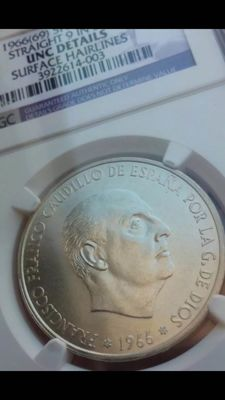 Spain – Francisco Franco – 100 pesetas – 1966-19*69 (Palo Recto variant) – certified by NGC.