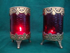 Pair of Candle Containers In Red Glass & Brass - Italy - C.a 1930