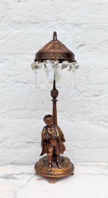Beautiful bronze table lamp with crystals.