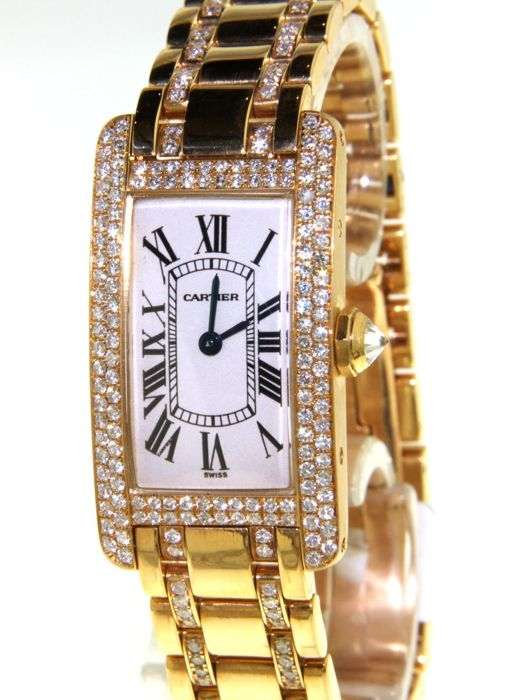 cartier Tank Americain -Ref 1710 -watch with diamonds-wristwatch