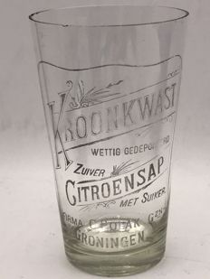 19th century advertising glass - C. Polak Groningen Kroonkwast lemon juice 1898