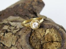14 kt gold women's ring with cubic zirconia, 0.3 ct, size 16.25. UK: L½, USA: 6.