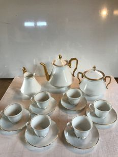 15 pieces coffee service, porcelain gilded with fine gold,