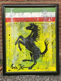 Eric Jan Kremer - FERRARI - original painting - acrylic on canvas - in frame - 98 x 78 cm