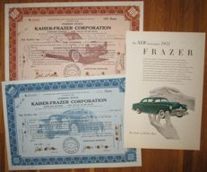 USA - Kaiser-Frazer Corporation - DECO Share Certificates 1945/46 + advertising - Lot of 3